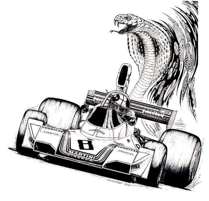 Brabham F1 race car with Cobra snake as exhaust