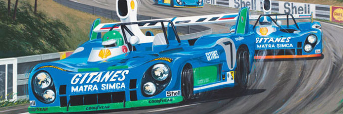 Three blue Matra-Simca race cars lead Le Mans 1974
