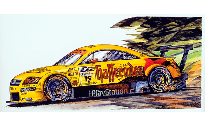 Audi TT - DTM Racing - colorized pen & ink drawing