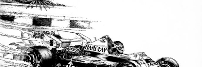 pen and ink drawing - Thierry Boutsen - Monaco F1 Grand Prix