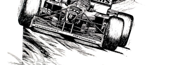 pen & ink drawing - Damon Hill & Jacques Villenueve - Williams