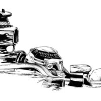 pen & ink drawing - Lewis Hamilton 2016 season helmet. Mercedes F1