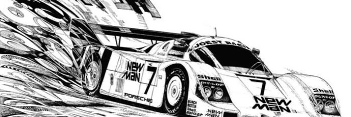 pen & ink drawing - New Man Porsche - 24 Hours of LeMans