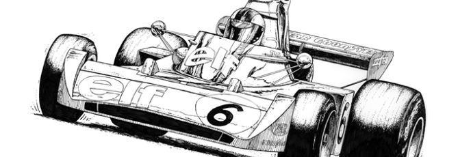 Tyrrell F1 Race Car - pen & ink drawing