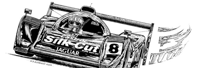Drawing of Jaguar XJR-14 race car