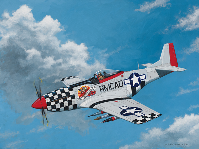 P-51D Mustang acrylic painting